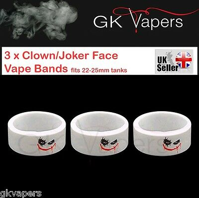 3 x Joker Face Vape bands, for your 22mm mod/tank, will stretch to fit upto 25mm
