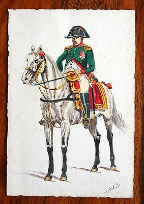 Superb Victorian Greetings Card Artist Drawing Signed G.b.b. Napoleon On Horse