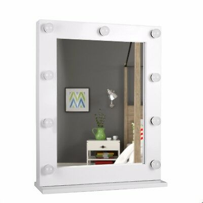 Modern Broadway Large White Metal Illuminated Hollywood Vanity Mirror Wall Table