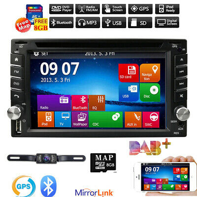 "6.2"" GPS Navigation HD Double 2DIN Car Stereo DVD Player BT iPod TV+Map+Camera"