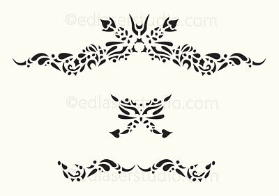 Scroll Floral Stencil Vintage French Wedding Paint Furniture Card making FL15