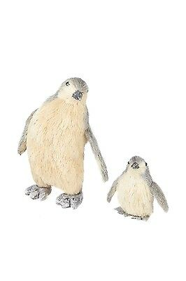 Sweet Pair Of Standing Penguins Straw Ornaments Mother & Baby Penguin