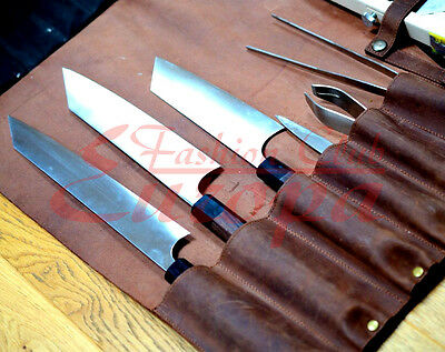 NEW Brown 100%Real Leather Knife Roll, Chefs Bag