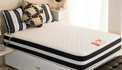 """Double 4ft6"""" 135x190cm~Memory Foam Spring Mattress~3D Ortho Quilted Sprung"""