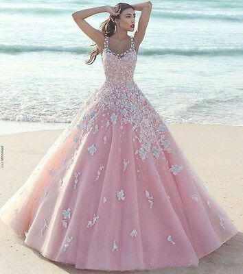 Lace Long Evening Party Prom Pageant Dress Formal Celebrity Wedding Ball Gown