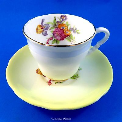 Variegated Pale Yellow and Floral Bouquet Royal Stafford Tea Cup and Saucer Set