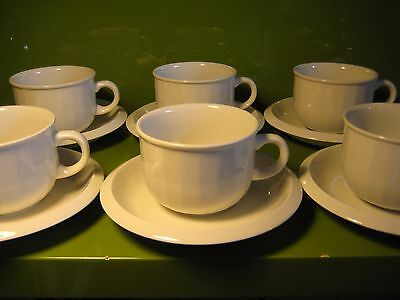 Set of Six Discontinued 1980's Habitat Bianca White Tea Cups and Saucers VGC