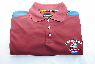 Colorado Avalanche NHL Polo Shirt with Embroidered Logos, Size Large