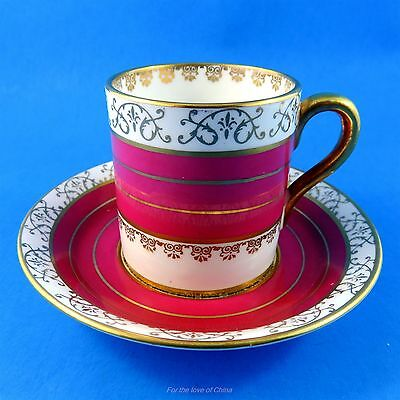 Deep Red and Gold Stripes Royal Stafford Demitasse Tea Cup and Saucer Set