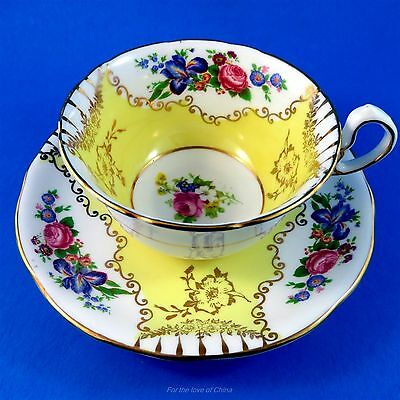Pretty Yellow and Bright Floral Royal Stafford Tea Cup and Saucer Set