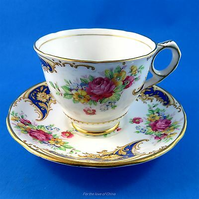 "Pretty Rose Bouquet with Blue Trim ""Gloria"" Royal Stafford Tea Cup and Saucer"