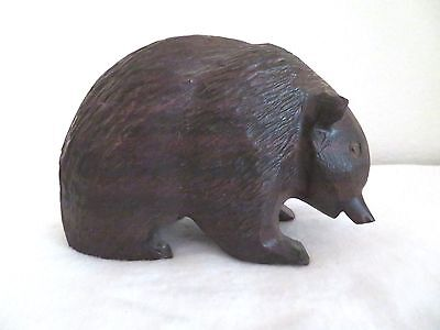 "Vtg Hand Carved Dark Wood German Black Forest Or Ainu Japanese Bear 6"" Figurine"