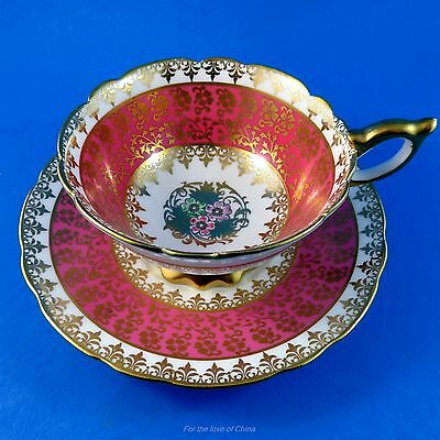 Pretty Pink and Gold with Floral Center Royal Stafford Tea Cup and Saucer Set