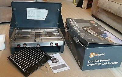 Hi Gear Double Burner Hob & Grill Cooker Stove With Lid And Piezo