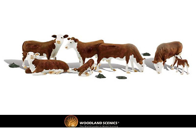 Woodland Scenics A1843 Hereford Cows Figures HO Gauge