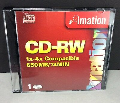 Imation CD-RW 1x-4x Compatible 650 MB /74 Min Compact Disc Rewritable NEW