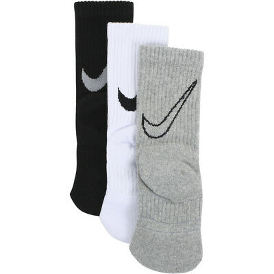 Nike Boy's 3-Pair Graphic Swoosh Logo Black Assorted Sport Crew Socks