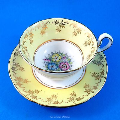 Pretty Yellow Border with Floral Center Royal Stafford Tea Cup and Saucer
