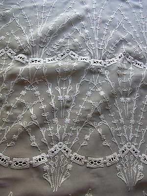 ANCIEN RIDEAU N01 VOILAGE IVOIRE BRODE h210 L235 CM OLD EMBROIDERED VEIL CURTAIN
