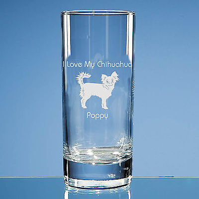 Long Haired Chihuahua Dog Lover Gift Personalised Engraved Highball Glass