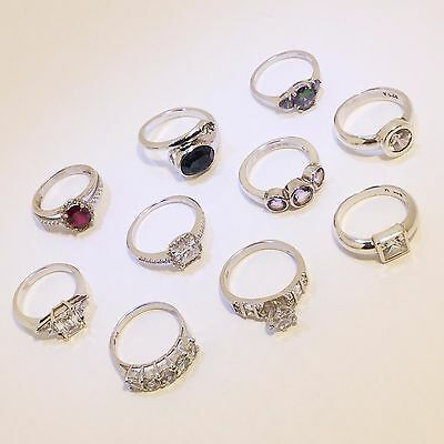 Lot of 10 Vintage Solid .925 Sterling Silver Rings with Gemstones Various Sizes