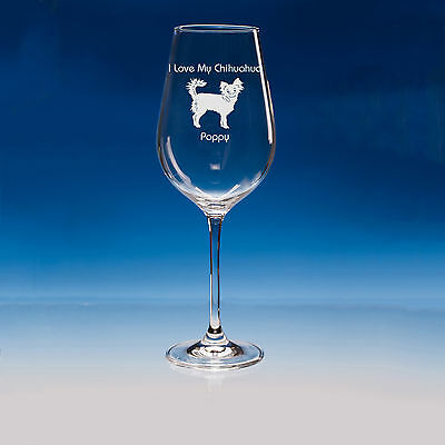 Long Haired Chihuahua Dog Gift Personalised Engraved Fine Quality Wine Glass