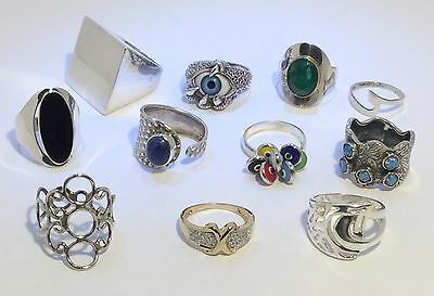 Lot of 11 Vintage Solid .925 Sterling Silver Rings with Gemstones Various Sizes