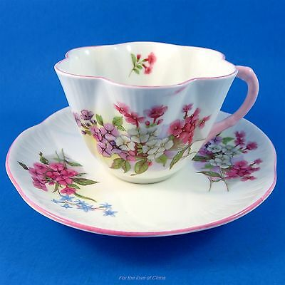 Pink Handle with Stocks on Dainty Shape Shelley Tea Cup and Saucer Set