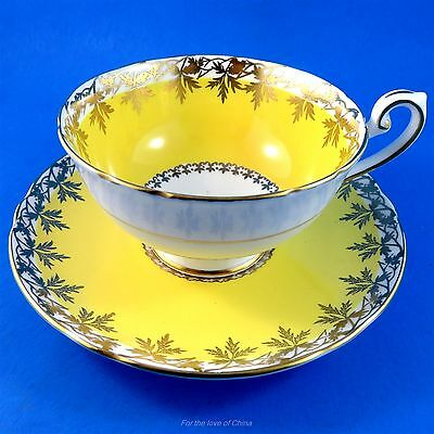 Pretty Yolk Yellow with Gold Leaf Garland Motif  Shelley Tea Cup and Saucer Set
