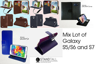 50 x Job Lot Wholesale Bulk Wallet Stand Case Cover For Samsung Galaxy S5/S6/S7