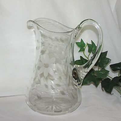 Large Vintage Glass Water Pitcher Etched Flowers Clear/crystal Elegant Tableware
