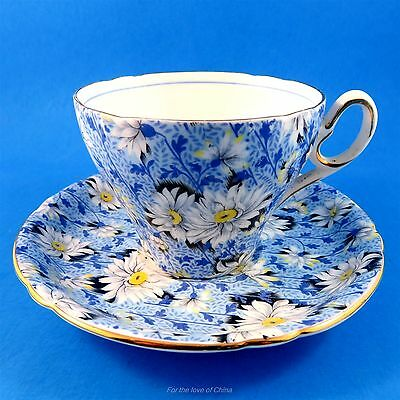 """Stunning and Rare """" Blue Daisy """" Chintz Shelley Tea Cup and Saucer Set"""