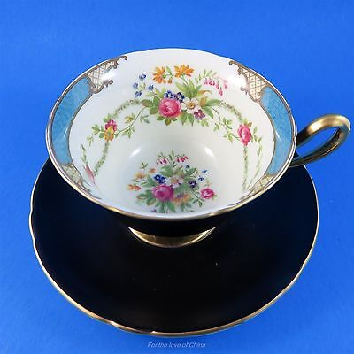 Black Shelley with Floral Bouquet and Blue Edge Tea Cup and Saucer Set