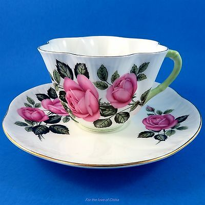 Stunning Pink Roses with Green Handle Shelley Tea Cup and Saucer Set