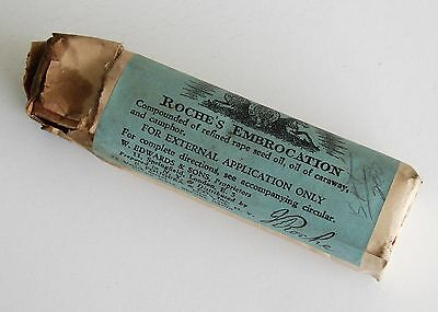 Antique/VTG Pharmacy Apothecary Medicine Glass Bottle Roche's Embrocation RX236