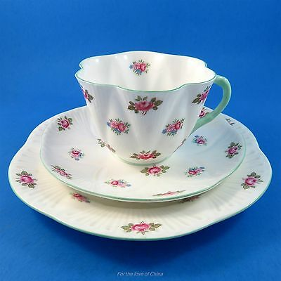 "Dainty Shape Shelley Rosebud Tea Cup, Saucer and 7 1/4"" Plate Trio Set"