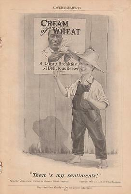 1919 Cream of Wheat Ad: Barefoot Boy in Straw Hat & Overalls Wallace Artwork