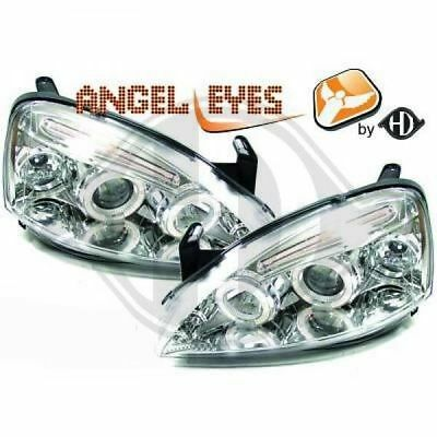 Angel Eyes Scheinwerfer Set Opel Corsa C BJ 2000-2006 Klarglas / Chrome