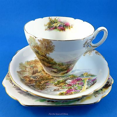 "Shelley ""Heather"" Cup, Saucer & Square Plate Trio"