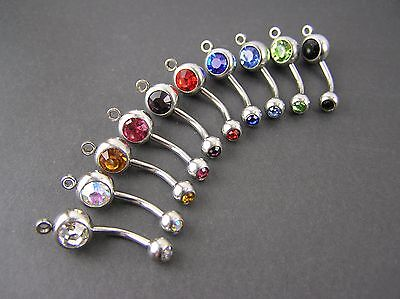 Lot 10 Double Gem Belly Button Rings Add A Charm Navel 316L Surgical Steel USA
