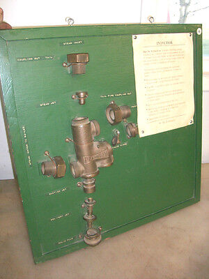 "1"" PENBERTHY STEAM INJECTOR ON DISPLAY BOARD Old Steam Traction Engine Brass"