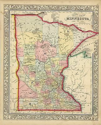 1862 Mitchell's County Map of Minnesota (Original Antique Map, Hand Color)