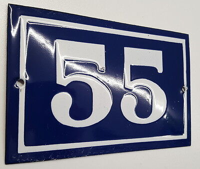ANTIQUE FRENCH ENAMEL HOUSE NUMBER SIGN Door gate plaque street plate 55