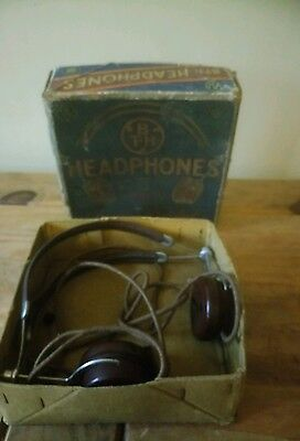 Vintage B T - H headphones boxed BBC good condition for age collectors TV Props