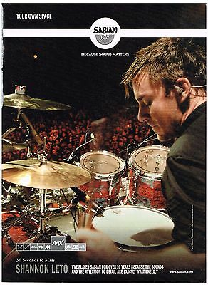 Sabian Cymbals - Shannon Leto of 30 Seconds To Mars  - 2007 Print Advertisement
