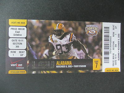 2008 Alabama vs LSU Football Ticket Official Reproduction