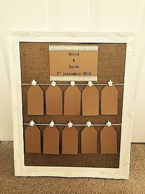 Rustic/Antique Framed Vintage/Shabby Chic Wedding Table Seating Plan