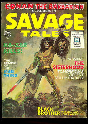 Savage Tales #1 1St App Of Man-Thing Classic Conan The Barbarian Cover
