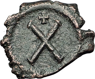 PHOCAS 602AD Decanummium Large X & Cross Authentic Ancient Medieval Coin i58415