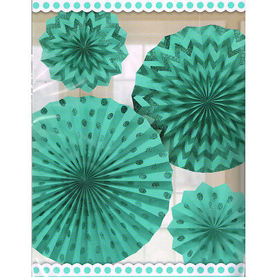 ROBIN'S EGG BLUE PRINTED GLITTER FAN DECORATIONS (4) ~ Birthday Party Supplies
